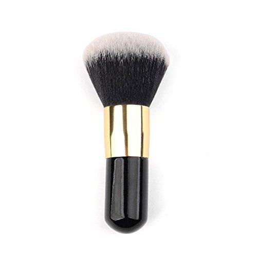 Lurrose Flat Foundation Brush Pinceau Maquillage Kabuki Portable pour Mélanger Poudre Liquide (Noir Doré)