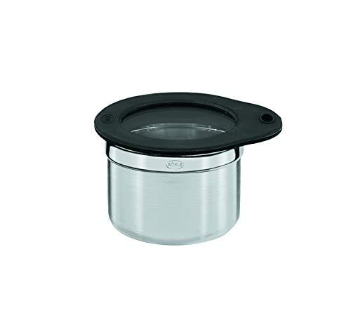 RÖSLE Dose mit Frischhaltedeckel Ø 8 cm; Edelstahl 18/10, Deckel aus Glas mit Silikonrand, aromadichtes verschließen, spülmaschinengeeignet