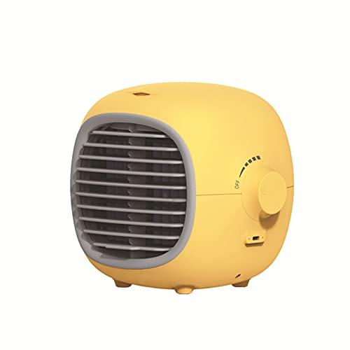 QNDYDB Aire Acondicionado portátil, humidificador, refrigerador de Aire con batería de 2000mAh, Ventilador de Escritorio Recargable USB, Tanque de Agua de 200 ml Mini acond Yellow