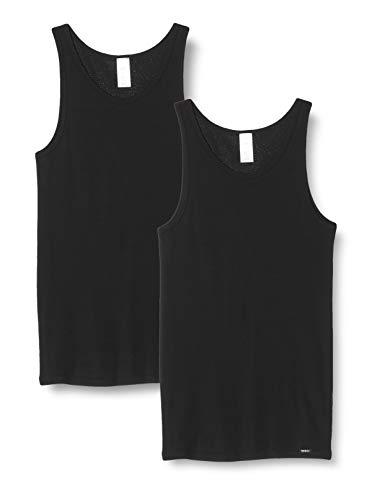 Skiny Herren Tank Top 2er Pack Unterhemd, Black, Medium (Herstellergröße: M)