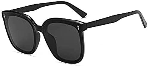 JINGXING [Marco Negro + Lentes Negros] Gafas de Sol de Gran tamaño Las Gafas de Sol Retro y generosas de los Hombres de los Hombres de Las Mujeres UV400