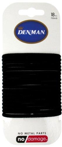 Denman Haargummis, metallfrei, Karte mit 18 Stück, schwarz