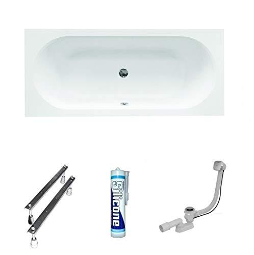 ECOLAM Badewanne Wanne Rechteckbadewanne für Zwei Modern Design Acryl weiß Vitae 180x80 cm + Ablaufgarnitur Ab- und Überlauf Automatik Füße Silikon Komplett-Set