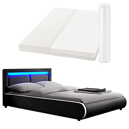 ArtLife Polsterbett Murcia 140 x 200 cm Komplett-Set mit Matratze, Lattenrost, LED-Licht, Kopfteil - Kunstleder Bett - groß, massiv, modern & schwarz
