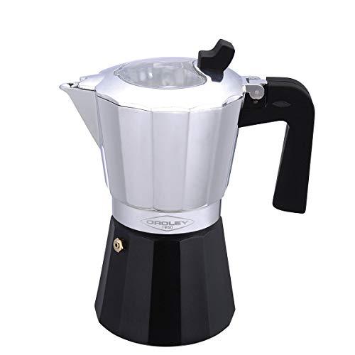 Oroley - Inducción Cafetera Italiana con Base de Acero para Todo Tipo de Cocinas, 9 Tazas