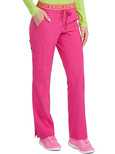 Med Couture Women's Activate Flow Yoga Two Pocket Cargo Scrub Pant, Pink Punch, X-Large