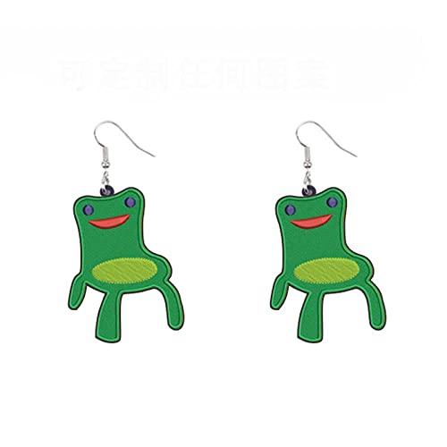 XQAQW Orecchini acrilici da Donna Carino Animale Stampa Divertente Hen Frog Goose Butterfly Drop Gioielli-Green_Frog_Chair