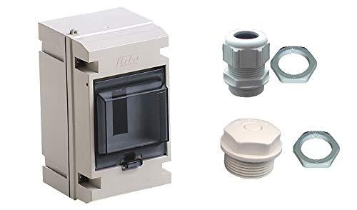 AP Elektro Kleinverteiler 4TE IP65 CT4G Verteiler Sicherungskasten grau 1-reihig - im Set incl. Kabeleinführung