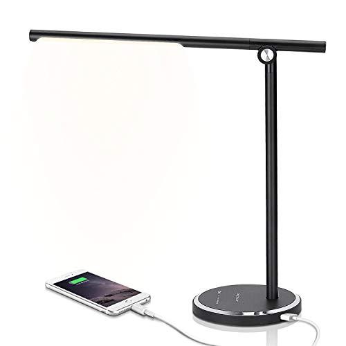 Aigostar Iris - Lámpara de escritorio LED, 8W, cargador USB, control táctil, 10 niveles de intensidad ajustables. Flexo LED con 5 modos de iluminación de luz blanca a cálida (3000K-6000K). Negro