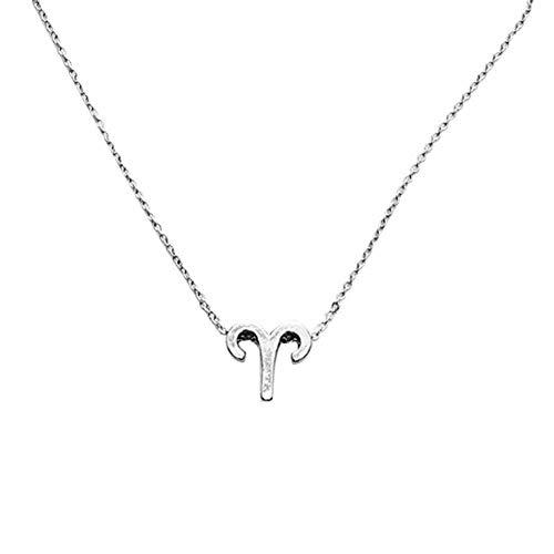 Collares de la amistad, moda para mujeres y niñas, 12 constelaciones, collar con colgante de joyería de cumpleaños – plata Aries