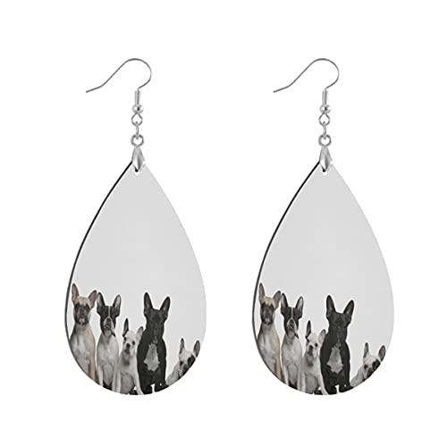 1 paio di orecchini a goccia a forma di bulldog francesi in legno dipinto orecchino goccia orecchini per le donne