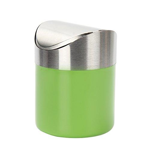Kitchnexus Mini poubelle en Acier Inoxydable avec Couvercle de Balançoire Pratique pour Bureau Table Voiture Chambre Vert