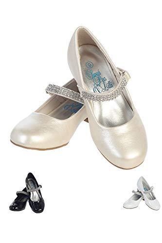 Swea Pea & Lilli Girl's Low Heel Girls Dress Shoe With Rhinestone Strap,Ivory,2 M US Little Kid