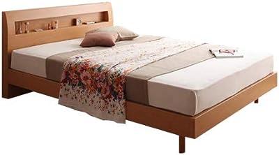 ナチュラル【高密度アドバンスポケットコイル】/【ダブル】 Haagen すのこ ベッド すのこベッド 棚付 幅142cm 北欧 シンプル