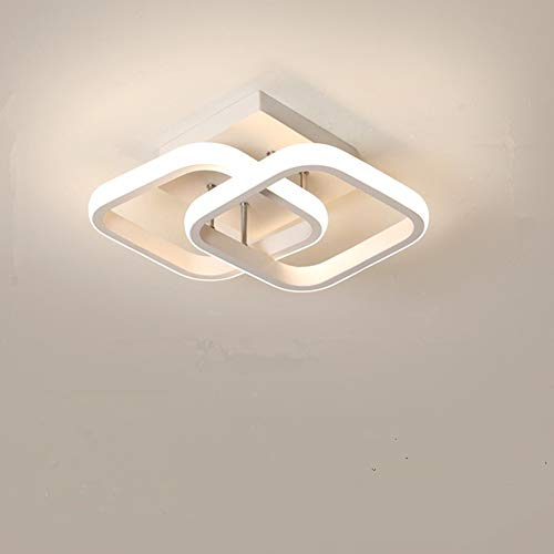 Osairous Plafoniera a LED, Lampada da soffitto moderna 22W, Lampadario nero acrilico a 2 LED quadrati bianca, plafoniera per sala da pranzo, cucina studio, luce bianca fredda / 6000K