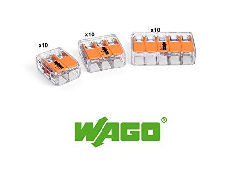 WAGO 221-412 x10, 221-413 x10, 221-415 x10 de cada conector de empalme de 0,14-4 mm2. Diseño compacto con palanca.