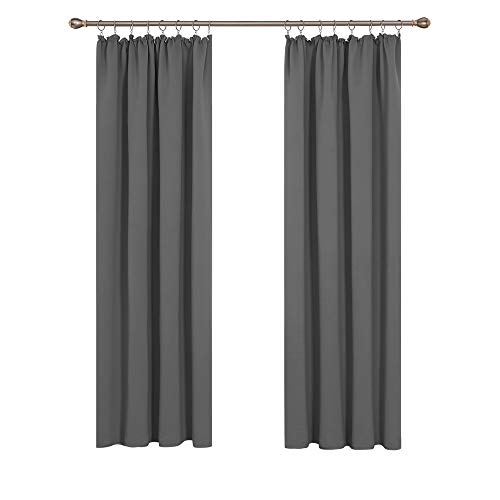 Deconovo Verdunkelung Fenstervorhang Grárdine Vorhänge Sonnenschutz mit Kräuselband 245x140 cm Hellgrau 2er Set