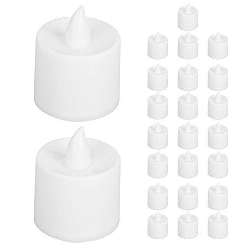 Nikou Lámpara de Vela LED romántica 24 Piezas Luz de Noche Blanca cálida para Bar Café Luz de Vela sin Llama para decoración de Bodas