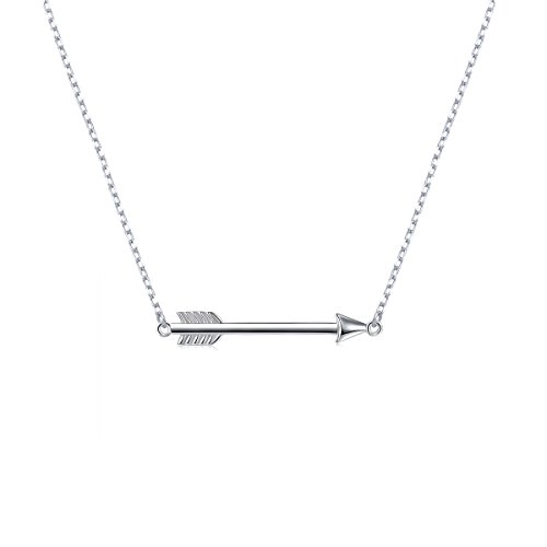 S925 Sterling Silver Classic Love Polished Sideways Arrow Necklace