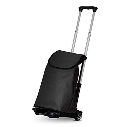 QIDOFAN - Carrito de la compra plegable, bolsa de tela Oxford impermeable extraíble con 2 ruedas para el hogar, carrito de la compra ligero (color: negro, tamaño: libre)