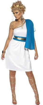 Smiffy's Disfraz de belleza romana, con vestido, toga, cinturón y accesorio para la cabeza, color azul y blanco, M (30645M)