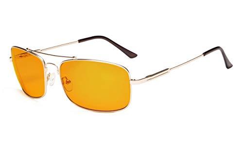 Eyekepper biegsame Rahmen Blau Blockierung Brille für Schlaf-Nachtzeit Brillen Besondere Orange getönte Gläser für Frauen Männer (Gold, 0.00)