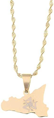 LLJHXZC Collar De Acero Inoxidable Mapa De Sicilia Collares Pendientes Color Dorado Cadena De Sicilia Italiana Joyería