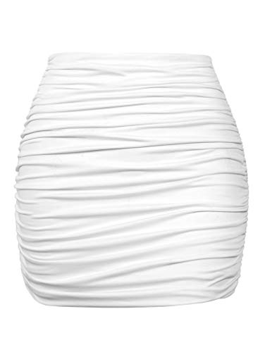 YMDUCH Women's Sexy High Waist Solid Tight Ruched Bodycon Mini Club Skirt White