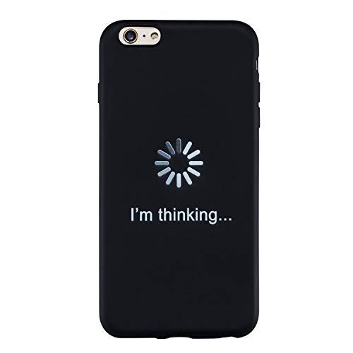 Yobby Cover per iPhone 6 Plus,Cover iPhone 6S Plus Divertenti Disegni Opaca Nera Silicone Custodia Ultrasottile Gomma Morbida Flessibile TPU Leggero AntiGraffio Protettiva Resistente Guscio-Iniziali