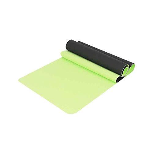 LWLEI Non Slip Yoga Mat Eco-Friendly TPE Materiale Inodore Non di Slittamento Resistente E Leggero Doppio Color Design tampone (Colore : Grass Green, Taglia : 183 * 80 * 0.8cm)