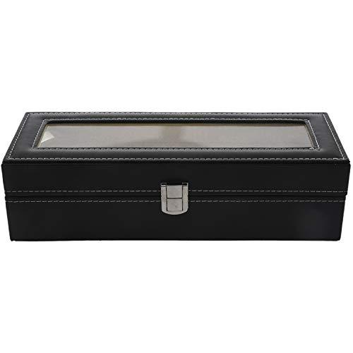 Fransande Expositor Reloj Caja de Relojes de Cuero Joyero Regalo para Hombre (6 compartimentos), color negro