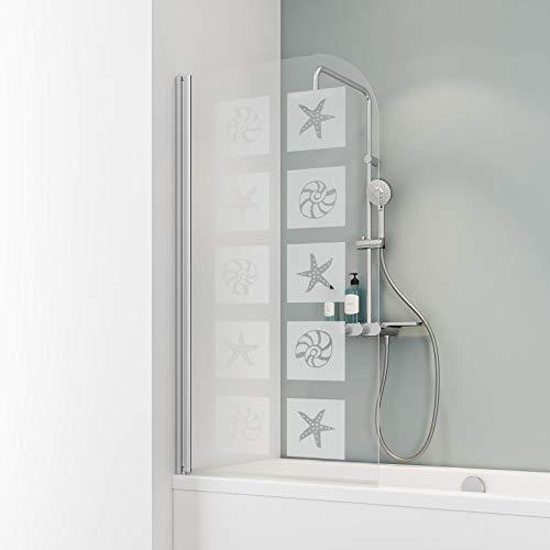 Schulte D1650 Duschwand Komfort, 80 x 140 cm, 5 mm Sicherheitsglas Muschel, alu natur, Duschabtrennung für Badewanne