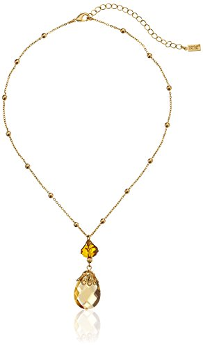 1928 Jewelry Gold-Tone Topaz Crystal Pendant Necklace, 16
