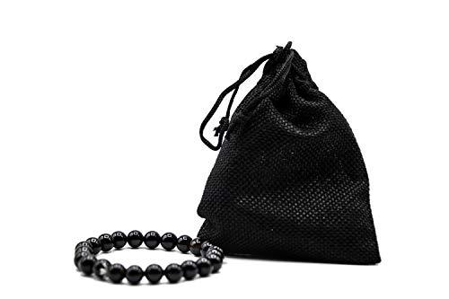 Bracelet noir [Turmalina] - Soin [Pierres naturelles] - Bracelet pour homme et femme avec pochette cadeau [Énergique] 7,5 cm réglable Protection Élimine le stress Anxiété Chakra Perles Bijoux Femme
