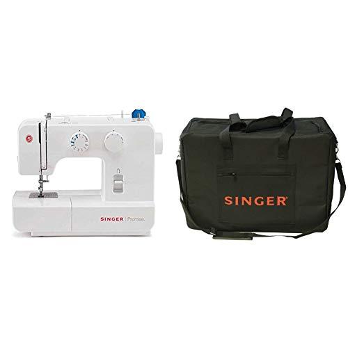 Singer Promise 1409 - Máquina de coser mecánica, 9 puntadas, 120 V, color blanco + Funda para máquina de coser, color negro