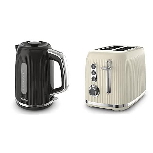 Breville Bold Black Electric Kettle | 1.7L | 3kW Fast Boil | Black & Silver Chrome [VKT221] with Breville VTR001 Toaster, Black & Silver Chrome