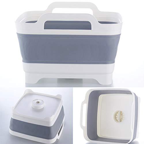 Dish Basin Collapsible with Drain Plug, Kitchen Drain Bowl Storage Rack Dish Drainer Countertop Tableware Organizer Easy Storage
