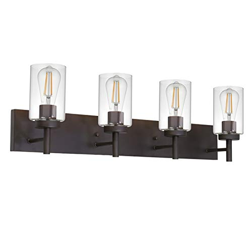 VINLUZ 4 Lights Bathroom Vanity Light Fixture Oil Rubbed Bronze Sconces Wall Lighting Modern Industrial Indoor Wall Mounted Lamp, Farmhouse Style Wall Light for Kitchen Living Room Dining Room
