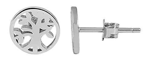 Pendientes de plata de ley 925 para mujer, diseño de árbol de la vida, 925/rodiada