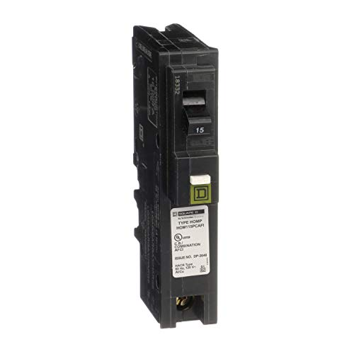 Square D by Schneider Electric HOM115PCAFIC Homeline Plug-On Neutral 15 Amp Single-Pole CAFCI Circuit Breaker,