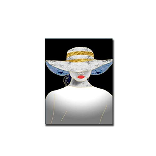 """YangmenGDAN kunstdruk op canvas, lippenstift, hoed, blauw, portret, olieverfschilderij, bedrukt, canvas, muur, kunst, foto, decoratie van het huis voor de woonkamer 27.5""""x 39.4"""