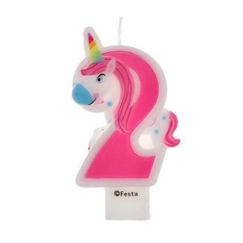 Velas de Cumpleaños Diseño Unicornio de 9cm, Adecuadas para fiesta de Cumpleaños para Niños Niñas Color Rosa blanca Numero 2
