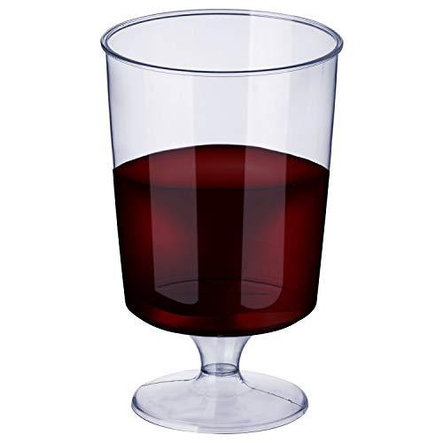 50 Stück Einweg Plastik Weingläser, Transparent 180ml - Elegant, Stabile & Wiederverwendbar - Einwegweingläser aus Kunststoff für Catering Partys Geburtstage Hochzeiten Weihnachten Neujahr.