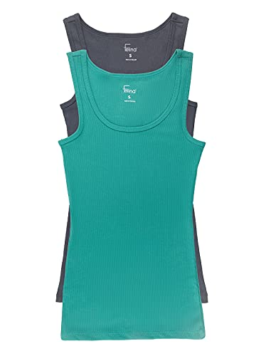 Felina | Cotton Ribbed Tank Top | 2-Pack (Blue Dynasty Green, Small)