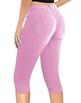Women s Butt Lift Super Comfy Stretch Denim Capri Jeans Q43308 Pink 5