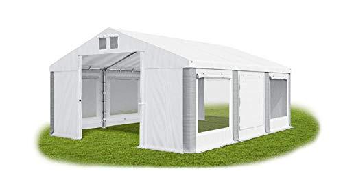 Carpa universal para fiestas de 3 x 6 m, con mosquitera, color blanco y gris, 560 g/m2 lona de PVC, impermeable, de alta calidad, Summer ISDM