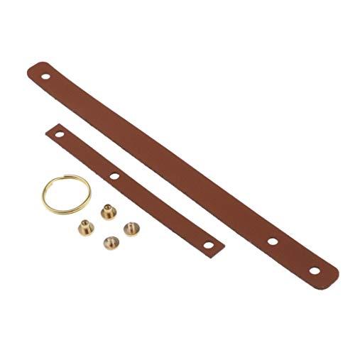 Baoblaze Leder Schlüsselanhänger zum Selber Nähen, Schlüsselband Bastel-Set aus Leder mit Zubehör, Schlüsselbund Selbst Machen - Deep Orange