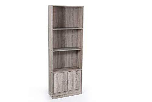 libreria olmo TC Mobile libreria con 2 Ante e 3 Ripiani in Legno truciolato Colore Olmo 70 * 24 * 170 cm TCC-750984