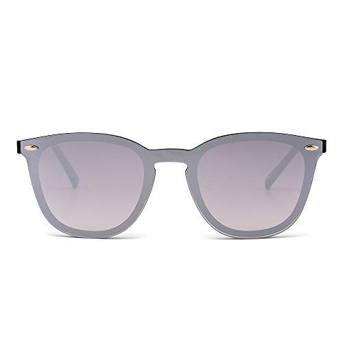 Gafas de Sol Sin Montura Una Pieza de Espejo Reflexivo Anteojos Para Hombre Mujer(Negro Brillante/Plateado Espejo)