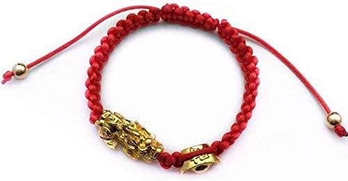 HYJMJJ Pulsera Feng Shui Bead Riqueza, Pulsera de Feng Shui El Mejor Secuencia roja con Oro Pi Xiu/Pi Yao atraer abundancia y Buena Suerte Pulsera Amuleto Pulsera de Abalorios de Amuleto